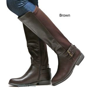 Shoes - New Brown Elastic Buckle Knee High Riding Boots